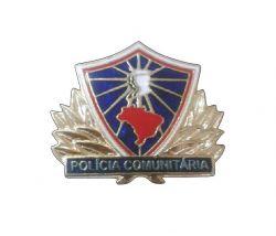 Brevê Metálico Policia Comunitária Banhado a ouro