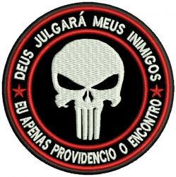 Patch Justiceiro  Bordado Tamanho 8cm x 8cm com Velcro