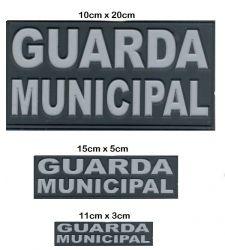 Kit Tarjetas Peito, Bornal e Costas Guarda Municipal Emborrachado Descolorido