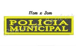 Tarjeta Policia Municipal Bordada Para Peito + Frete Grátis